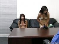 Two Shy and Cute Amateur Cutties fuck around during casting