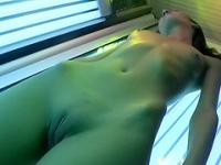 Sexy thin amateur babe fucked at the tanning saloon