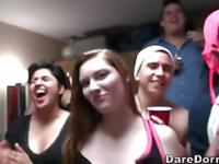Excited University 18 year olds get plowed at a Dorm Room party