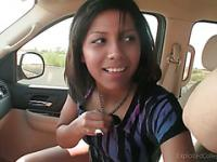 Shy Amateur Cuttie blows her Best friend in the car
