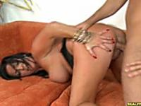 Sammy gets fucked in doggystyle and missionary positions.