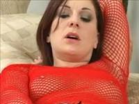 Kinky College Amateur in Fishnet Gives Sloppy Blowjobs