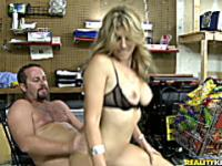 Cory rides hunter cock in the backroom of her convenience store