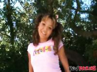 Petite Asian chick Keanni Lei is jerking off this white dick