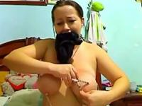 Big Tits Brunette Slave Is Obedient