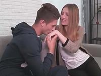 Tight russian teen blonde gets hammered in the couch