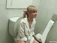 Pretty blonde teen cock sucker fucked in the toilet