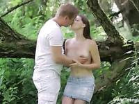 Teen couple picks a forest as a romatic spot