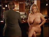 Tracy showing off her fantastic boobs at a restaurant