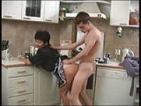 Mature Mom and her boy in the kitchen! Russian Amateur!
