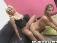 Two hot tranny babes sharing a studs hard cock
