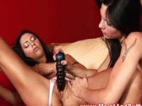 Lesbian babes enjoying sensual play