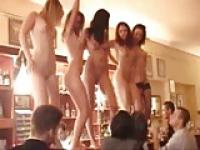 GIRLS DANCEING NUDE ON THE BAR IN GREAK TOWN
