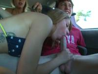Teen gives blowjob on way to the beach