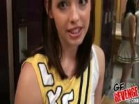 Teenage cheerleader nailed in locker room