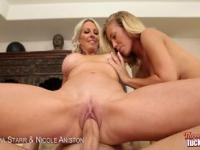 2 Hot Blondes Get Fucked In Threesome Scene