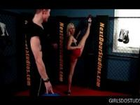 Blonde seductress fucking her fitness trainer at the gym