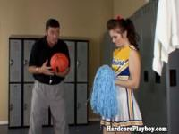 Flexible cheerleader fucked by coach