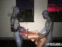 Hot 3D babe getting double teamed by some zombies