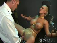 Big breasted sub has her hole filled by Strong dominant Master