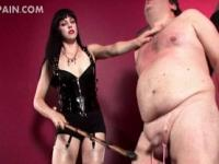 Mistress on heels spanking and cock torturing tied up guy