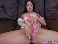 Real amateur brunette gets fingered