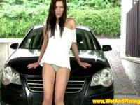 Wam brunette babe washes car with urine