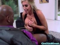 Blonde babe sucking his black cock