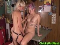 Hairy strapon lesbians