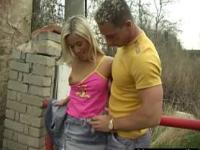 Josje fucking her lover outdoors