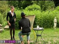 Glam clothed hoe fucks outdoors