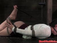 Lezdom ball gagged sub whipped