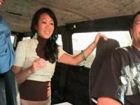 Asian sex doll picked up to be fucked in the bus gives BJ