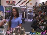 Real nurse in pawn shop fingers pussy