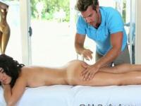 Gorgeous Brunette Getting Total Body Rub Down On Massage Table