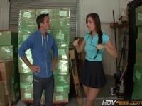 Rilynn Rae blows and fucks in warehouse