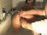 Kinky housewife fist fucked hard in the bath tub