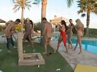 Six Glamour Hoties  VS 3 Cocks at Pool