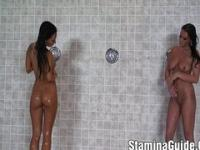 Two hot lesbians play toys