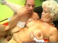 Granny Gets Fucked And Gets A Mouthful Of Jizz