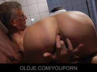 Young cleaning lady fucks with grandpa in the restroom