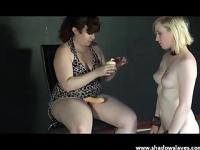 Brunette lezdom and her blonde amateur subbie with some big toys