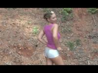 Busty Model dances for you in shiny silver shorts (music video)