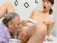 Horny old teacher starts to touch young student girl and finally fucks her shaved pussy