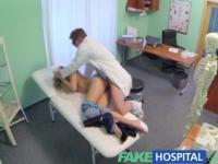 Fake Hospital Doctor offers blonde a discount on new tits in exchange for a good hard fucking