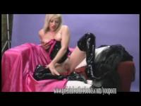 Horny blonde in thigh high boots fingers her soaking wet pussy