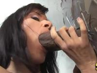 Cecilia Vega sucking black cock in gloryhole