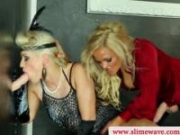 Bukkake lesbians using strapon at the gloryhole