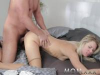 MOM Blonde with Small Tits get filled with Cum