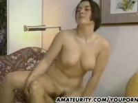 Busty amateur girlfriend anal fuck with cum on her big tits